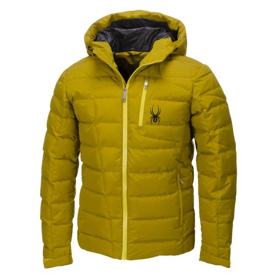 Spyder, Impulse Down ski-jas heren, Brazen groen - Sun geel - Polar grijs (Ski kleding heren)